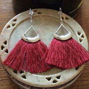 Jewelry - RED SILKY FRINGE&SILVER TONE EARRINGS w/FISHHOOKS